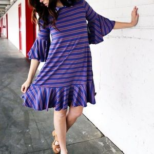 NEW • Lularoe • Maurine Ruffle Stripe Dress Purple